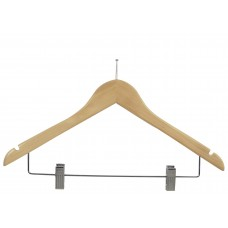 Anti-Theft Wooden Combo Hanger - Natural & Walnut