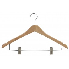 Combo Wooden Hanger W/Clips and Notches Curved - Natural & Walnut