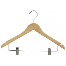 Combo Wooden Hanger W/Clips and Notches Flat -Natural & Walnut