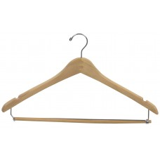 Suit Hanger W/Locking Bar & Notches Curved - Natural & Walnut